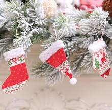 1 pcs Lovely Hat Glove Boot Hat Hanging Ornament Christmas Tree Party Home Pendant Decor Glove(China)