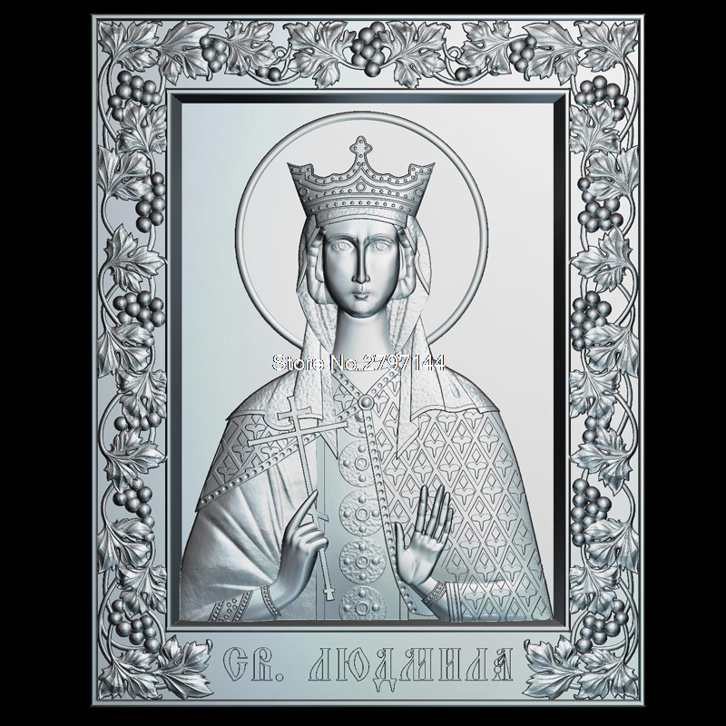 Icon of the Holy Martyr Ludmilla 3d model for cnc STL format Religion 3d Relief Model STL Router 3 axis Engraver ArtCam martyrs faith hope and love and their mother sophia 3d model relief figure stl format religion for cnc in stl file format