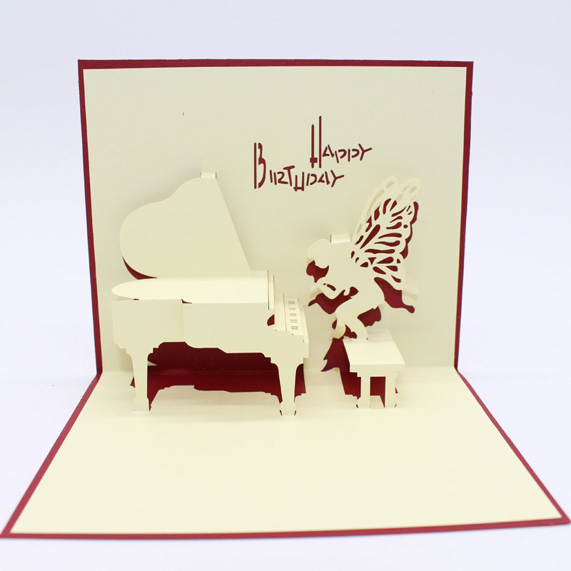3D Laser Cut Handmade Carving Cute Angel Piano Paper Invitation Greeting Cards PostCard Children Happy Kids Birthday Party Gift
