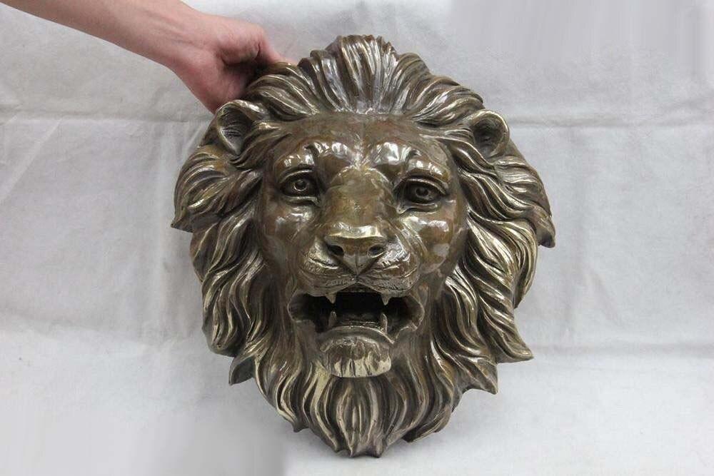 Chinese Wall Art Deco Copper Bronze Ferocious Lion king Head Mask Art Figurine