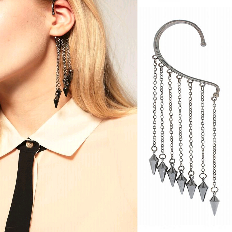 KASIYU Europe and the United States punk rivet bullet head long tassel without ear hole earrings bullet head pin ear hang
