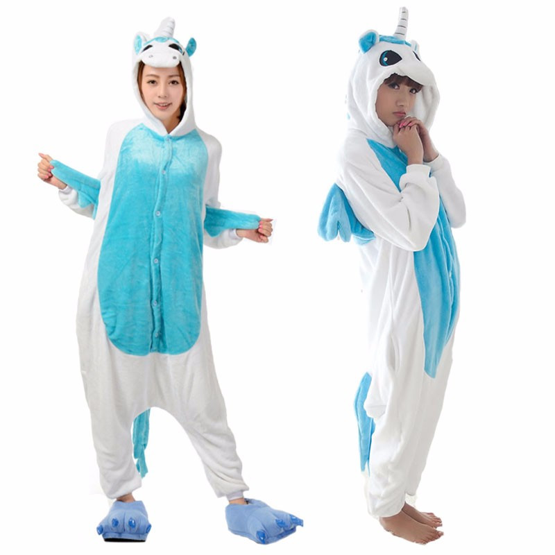 Unicorn Adult Kids Unisex Pajamas Suits Cartoon Animal Cosplay Costume Flannel Onesies Sleepwear 4 Colors