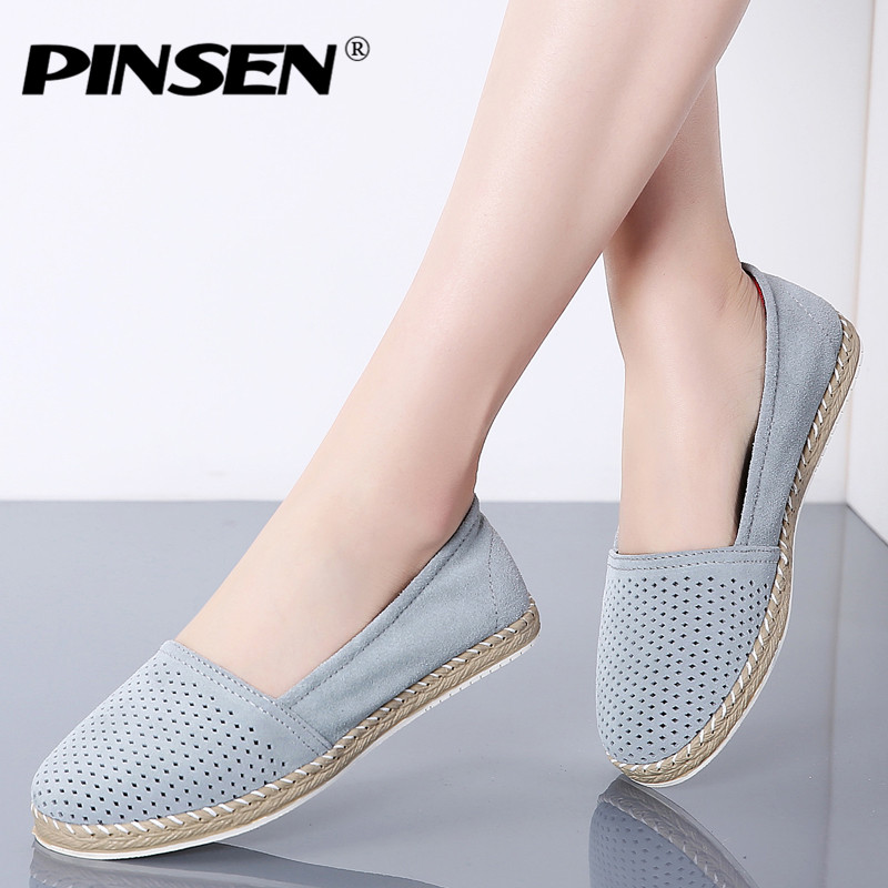 PINSEN 2019 Spring Women Ballet Flats Shoes   Leather     Suede   Slip-on Loafers Shoes Woman Casual Flat Ladies Shoes Big Size 36-42