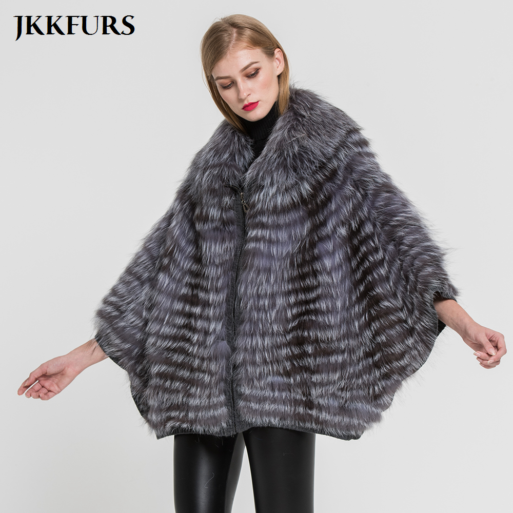 New Women's Genuine Fur Coat Fashion Style Silver Fox Fur Jacket Winter Warm Outwear Top Quality Natural Fur Poncho S7383