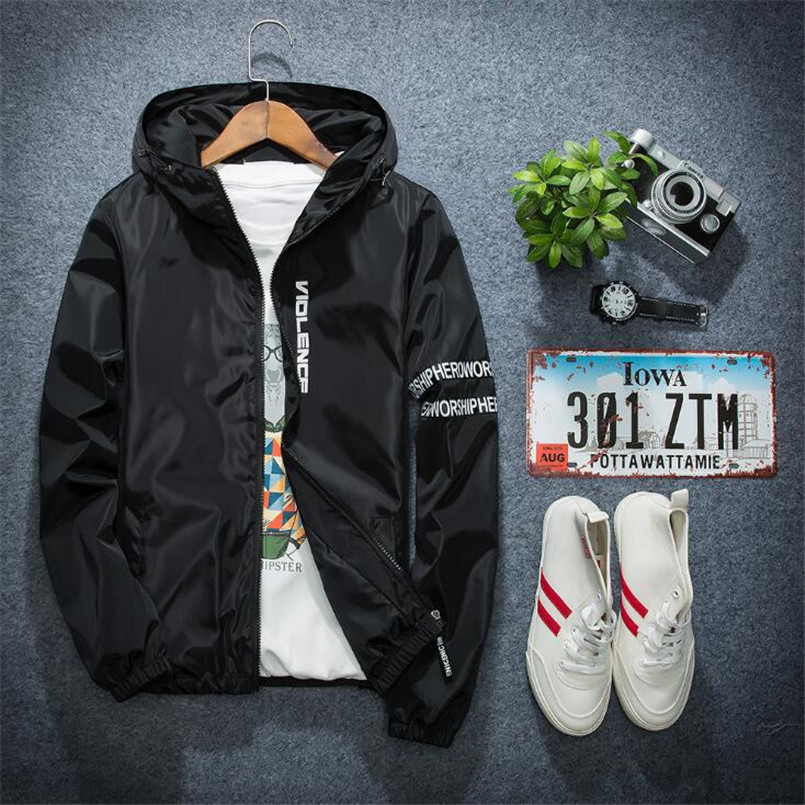 ef0b14e6c8501 New Summer Autumn Winter Mens Fashion Outerwear Solid Windbreaker Jackets  Men' S Thin Jackets Hooded