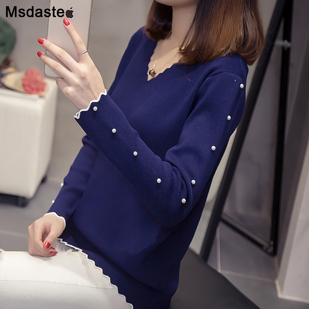 Women Sweater Pullover Basic Knitted Plus Size 4XL Top V Neck 2019 New Autumn Wear Long Sleeve With Beads Female Ladies Sweaters
