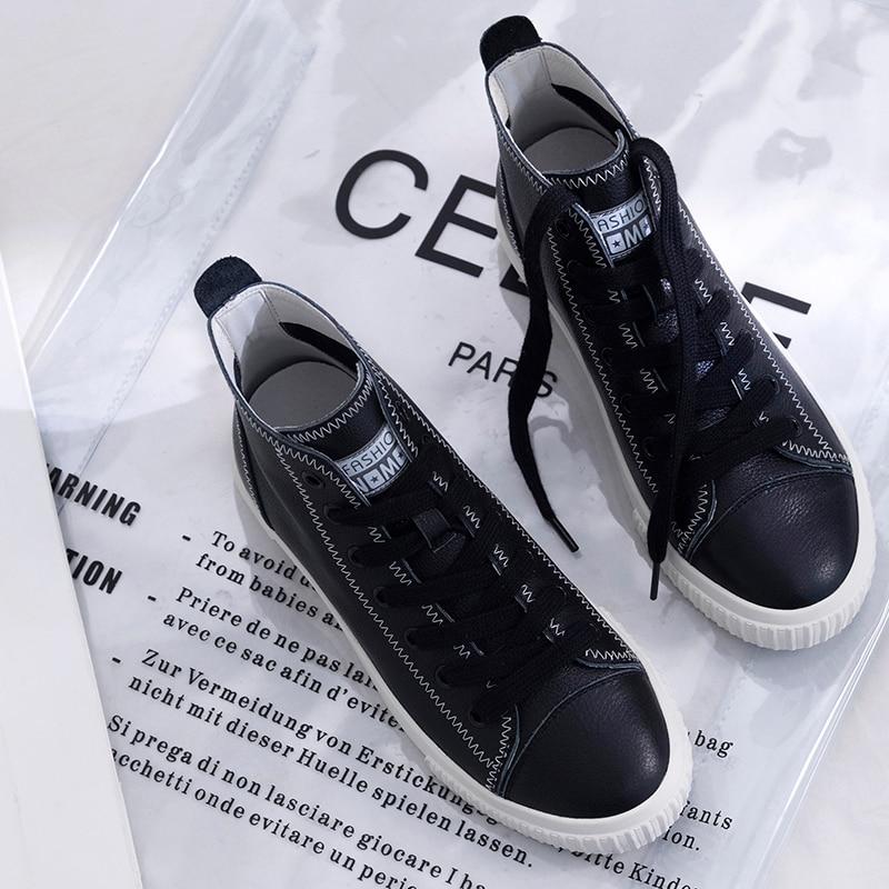 Top Marca De Zapatos Zapatillas black Con Flats Las Alpargatas Genuino Cómodas La Alta Diseñador Tobillo Mujeres Cordones Botas Ocio Beige Cuero Venta 5YnqgCwvU