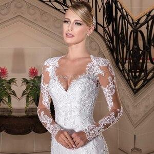 Image 3 - Vestido De novia Princesa sirena Vestido De novia 2020 Apliques De encaje mangas largas De perlas vestidos De boda personalizados hechos vestidos De novia