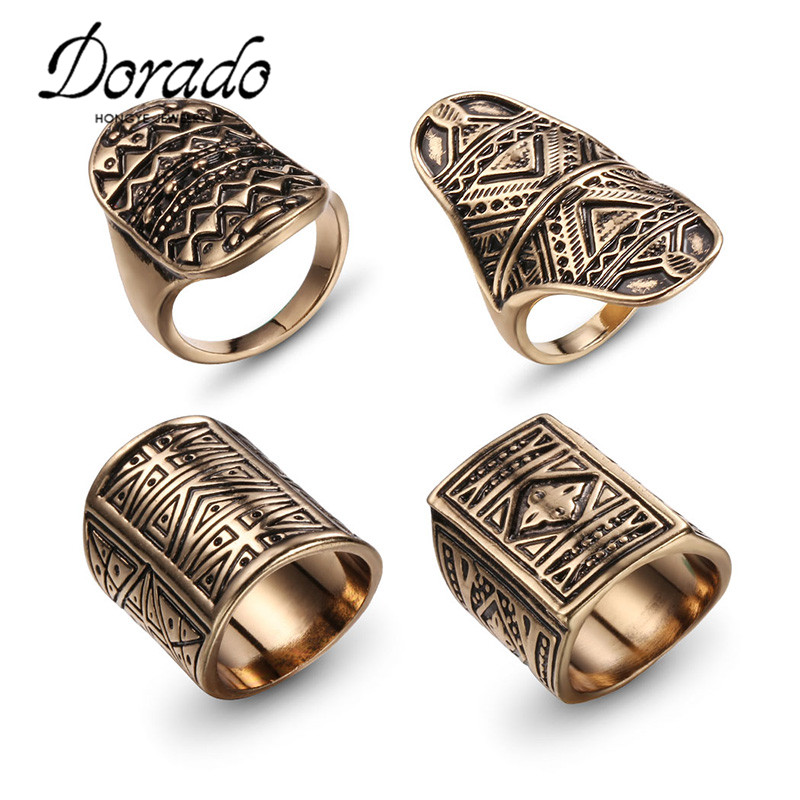 Dodado Design Vintage Midi Ring Set Antique Gold Color Finger ...