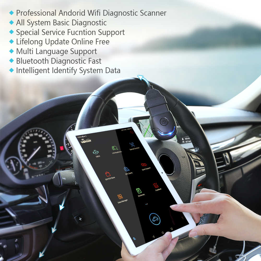 Vpecker PU-600 OBD2 Bluetooth Diagnostic Tool Full System Diagnostic For  BMW Engine ABS SRS TPMS DPF Oil Reset OBD2 Scanner