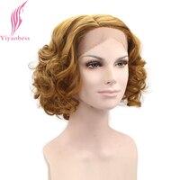 Yiyaobess 12インチ短いレースフロントかつらゴールデンオレンジ髪合成カーリーウィッグ用女