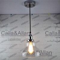 Cromo E27 Edison Luz Pingente Luminária sombra de vidro transparente Pendurado lâmpada Retro Luminária Industrial com tecido e fio de montagem|Luzes de pendentes|Luzes e Iluminação -