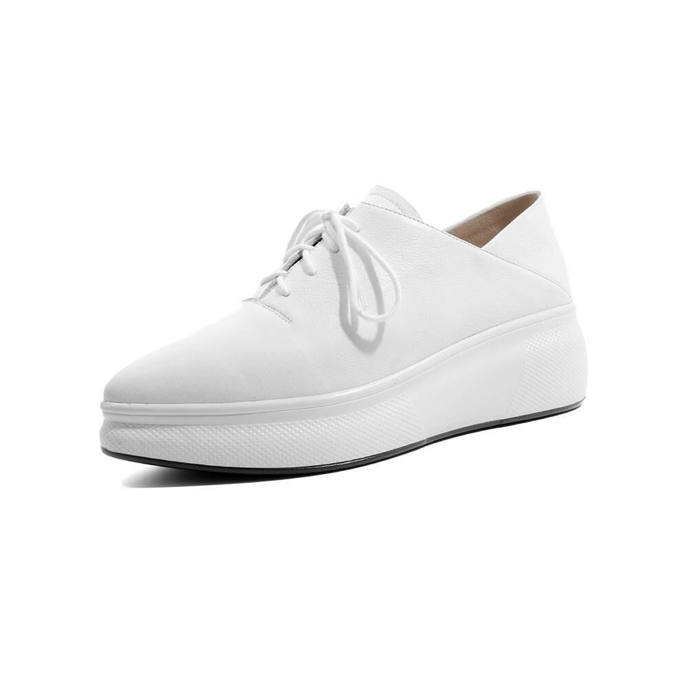 Fondo Zapatos Lenkisen Negro Conciso Vulcanizados Punta Plataforma Escuela Natural L0f5 Británica Grueso blanco Deporte Cuero Zapatillas De Estilo wOtCrOR