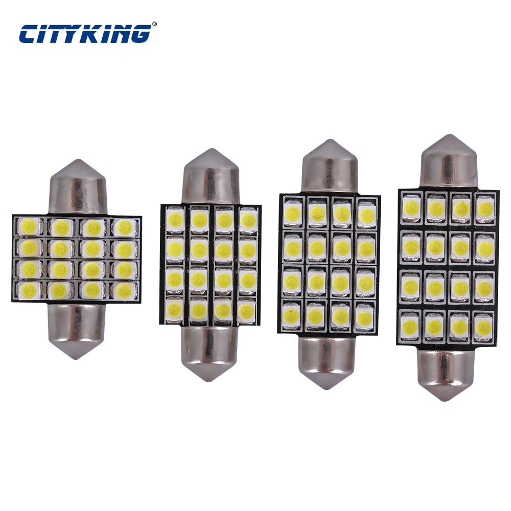 free shipping 100pcs Festoon LED 31mm 36mm 39mm 41m 16SMD 1210 3528 LED Festoon Interior LED