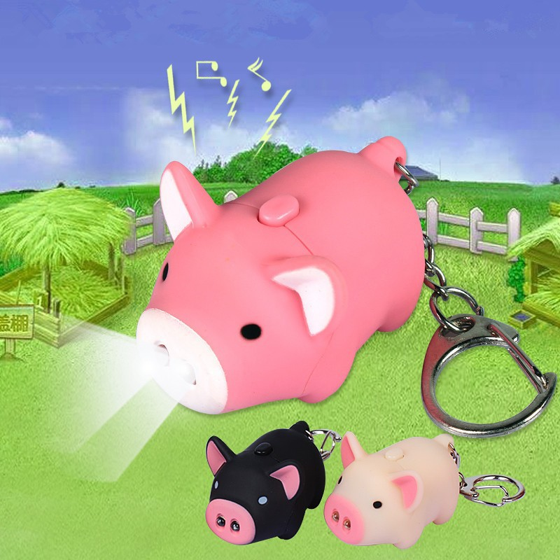 Hot Sale Cartoon Little Pig Design Led Keychain With Sound Flashlight Kid Emergency Torch Cute Animal Pig Keyring Wholesale