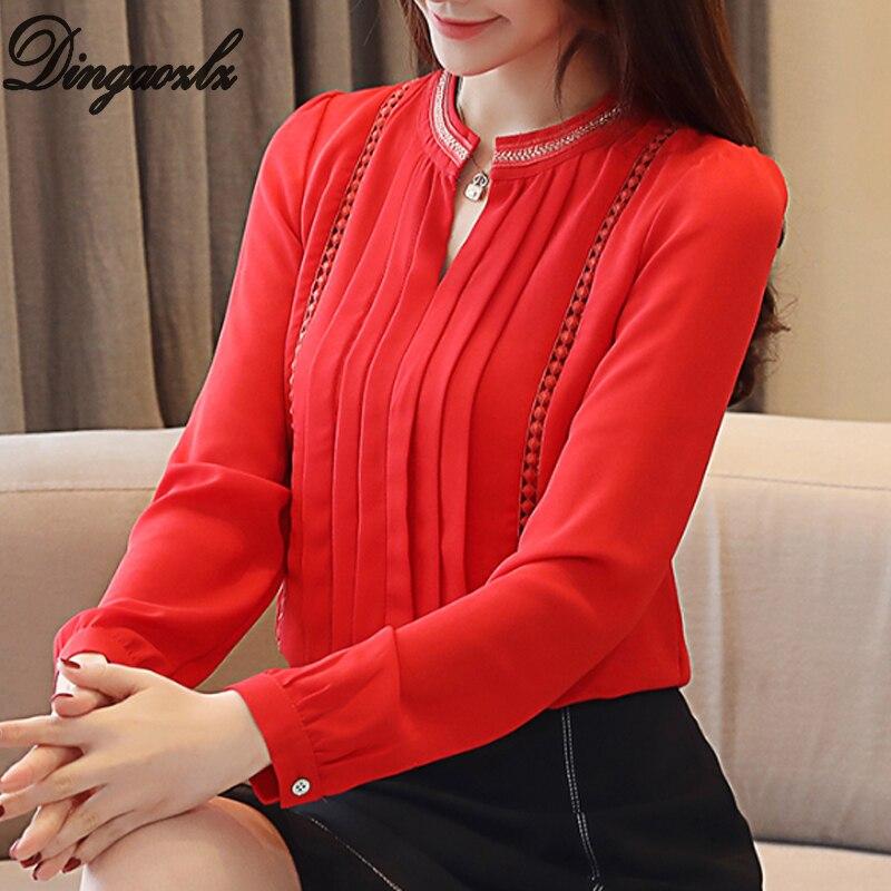 Dingaozlz Spring 2019 New Sweet Chiffon   Shirt   Long Sleeve Fashion Professional OL Women Tops Elegant Lace   blouse     shirt