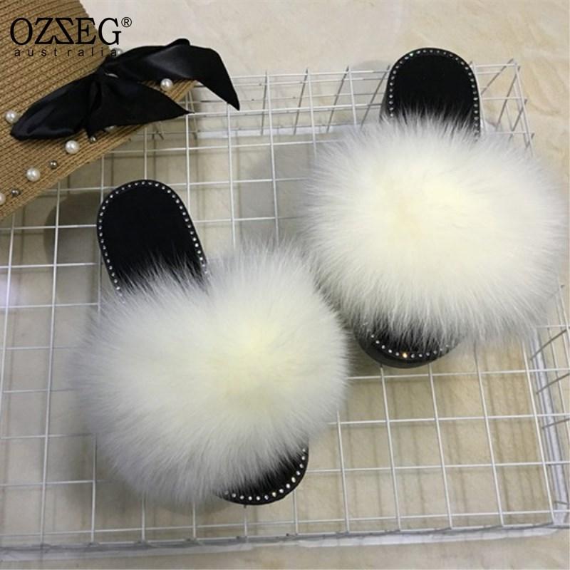 406e4109279dc3 2018 hot Sale Rhinestone Women Fur Slippers Luxury Real Fox Fur Beach Sandal  Shoes Fluffy Comfy