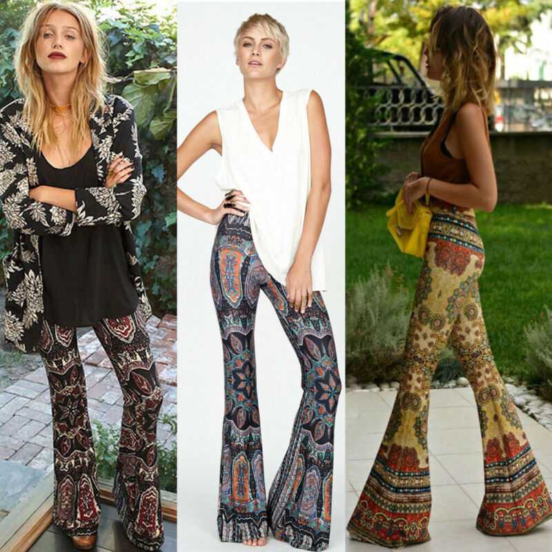 Women's Boho Hippie High Waist Printed Wide Leg Long Flared Bell Bottom Pants Vintage Style Female Pants