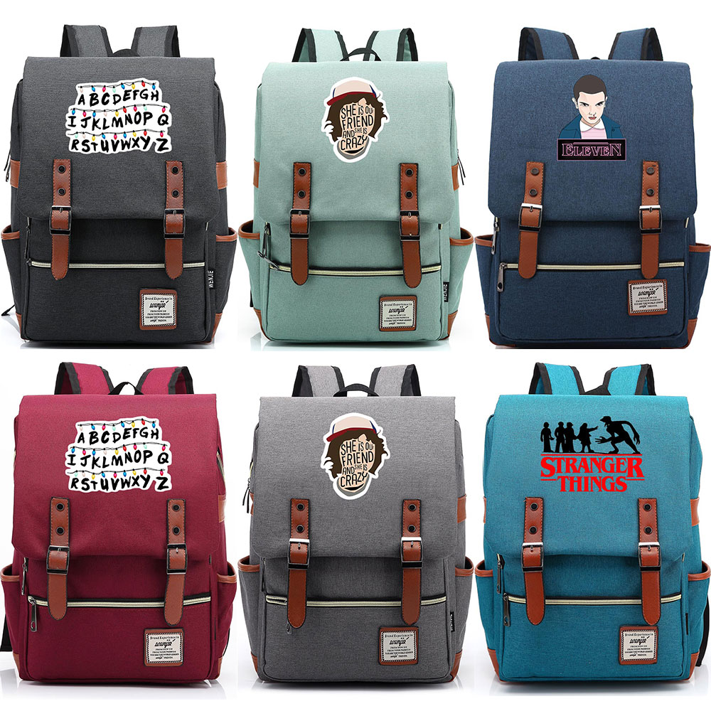 2019 Stranger Things Christmas lamp Letter Boy Girl Student School bag Teenagers Schoolbags Canvas Women Bagpack Men Backpack