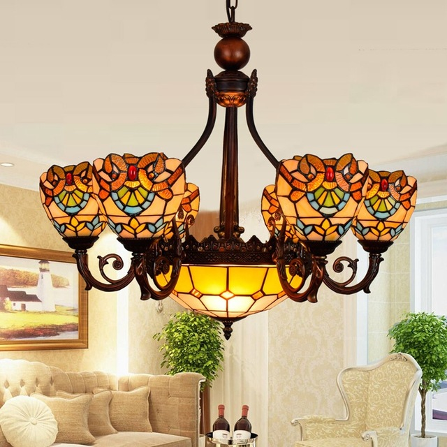 European Baroque 6 8 Heads Living Room Dining Chandelier Tiffany Stained Glass Restaurant Pendant Lamps
