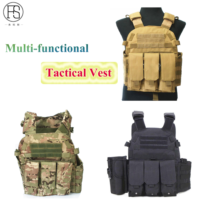 Professional Molle Hunting 600D Outdoor Combat Nylon Tactical Vest with Army Military USMC Airsoft Combat Assault Plate Carrier