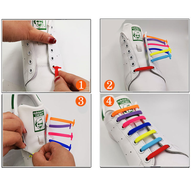 16pcs/lot Silicone No Tie Shoelaces Shoes Accessories Elastic Lace Shoelace Creative Lazy Silicone Laces Rubber Lace 12 colors 4