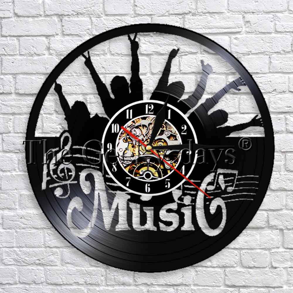 Us 16 72 12 Off Music Theme Vinyl Record Wall Clock Handmade Creative Art Decor Rock N Roll Decorative Modern Design In