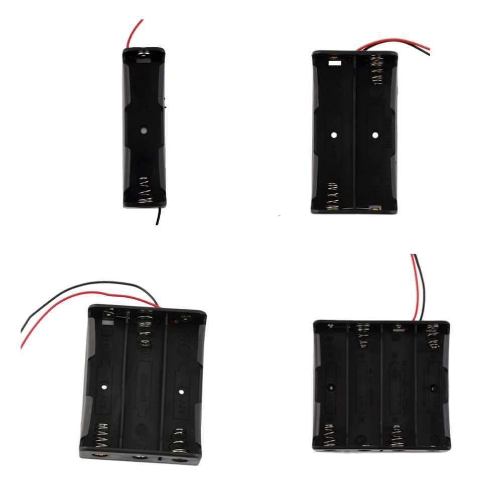 Caixa de armazenamento de bateria 1x2x3x4x18650, caixa de plástico preto way diy clipe de baterias recipiente com pino de chumbo fio