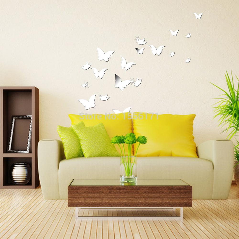 20 PCS 3D Modern Wall Stickers Silver Butterfly Shaped Acrylic ...