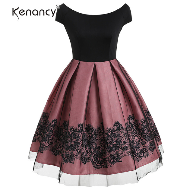 Kenancy Women Sexy Backless Short Sleeve Lace Mesh Yarn Panel Vintage Dress High Waist A-Line Pleated Elegant Lady Party Dress