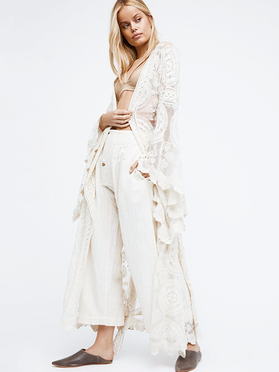 Ruffle Bell Sleeve Kimono Cardigans Lace Cover Up Loose Blouse Tops for Women