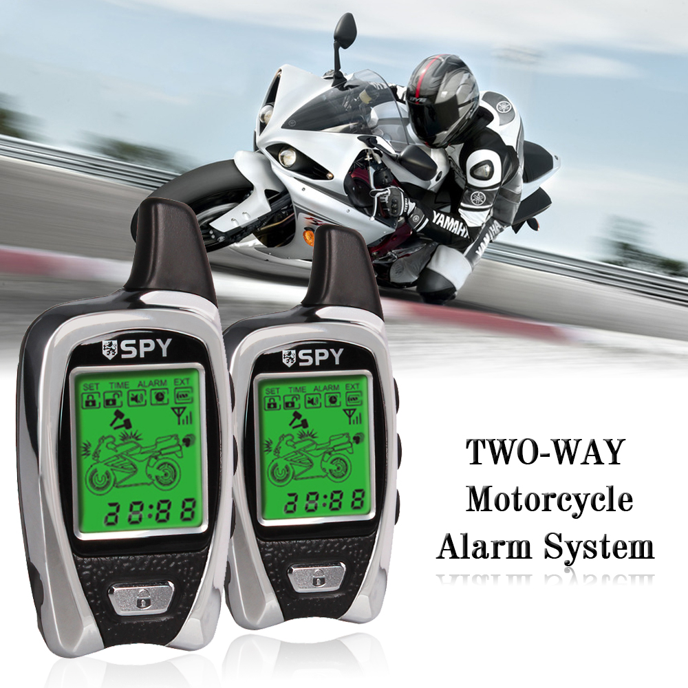 5000m Two Way Anti - theft Motorcycle Alarm System Equipment With 2 LCD Transmitters Remote Engine Start