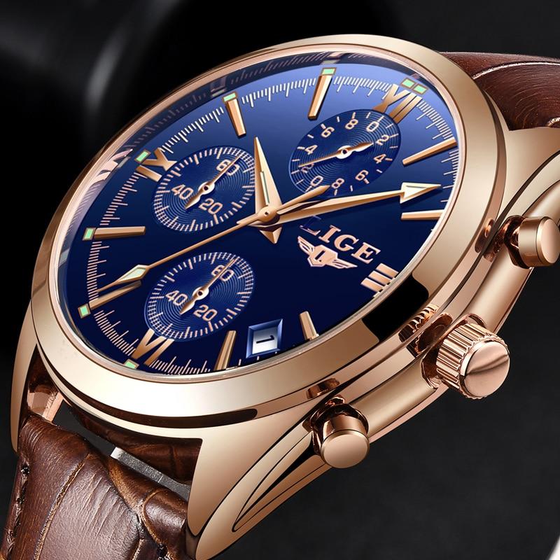 Luxury Quartz Cronograph Watch Leather Band 1