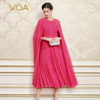 VOA 2017 Summer Fashion Red Silk Elegant Evening Party Dress Plus Size Luxury Cloak Shawl Solid