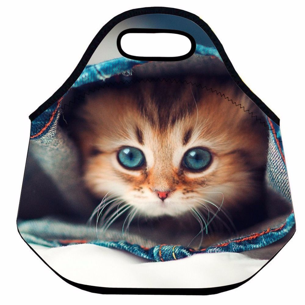Kitty Cat Lunch Bag for Kids ,Cute Animal Neoprene Thermal Lunch Bag ,Insulated Lunch Box Bag ,Picnic Cooler Box Bag,Lunch Tote