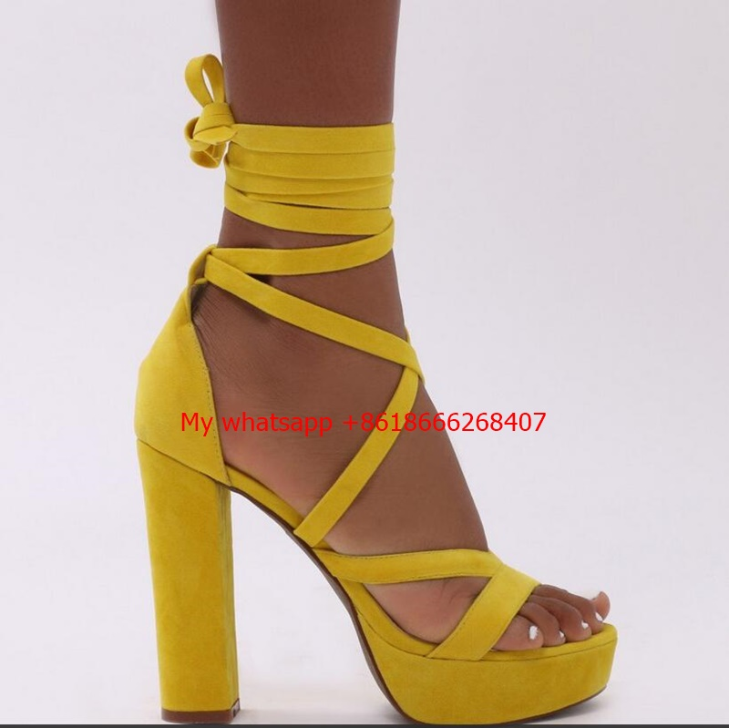 Stella Lace Up Heels in Yellow Cross Bandage High Heels Sandals Women Pumps Thin Heel Ruffle Lace-Up Summer Shoes Fashion pumps lace up front layered ruffle shirred bardot top