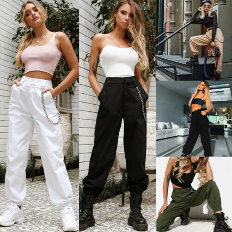 2019 New Brand Fashion Women's High Waist Loose Chain Hip-Pop Combat Cargo Harem Pants Leggings Trouser