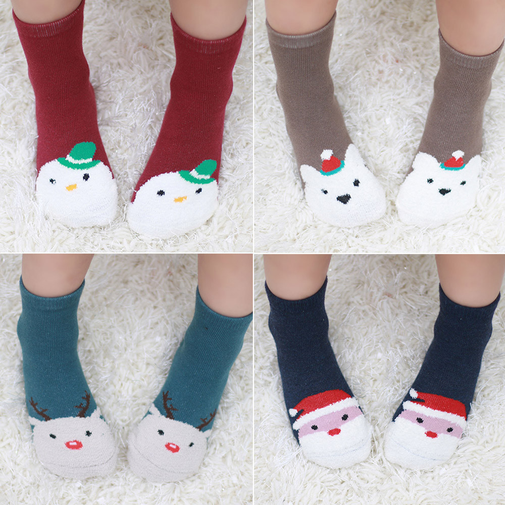 Infant Baby Warm Sleep Socks Breathable Fleece Cotton Anti-slip Christmas Socks