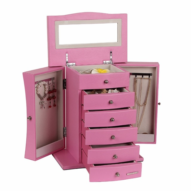 Pink Jewelry Stand Box Luxury Earring Display Watch Armoire Necklace