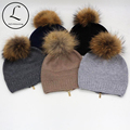 Beanies Cap Winter Knitted Hats With Zipper Adjusted Paisley Hat Fur Lady Real Raccoon Fur Pompom Hedging Cap Vrouwen Muts 6905