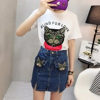 Fashion 2018 New Loose Casual Sequins Cat Short Sleeved O Neck Cotton T Shirt Women And