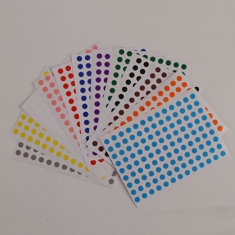 12pcs/set Pack 6mm DIY Stickers Colorful Writing Round Sticker Dot Blank Self-adhesive Circle Paper Tag matte silver self adhesive paper label printing diy crafts sticker for library book electronics blank bar code printed labels