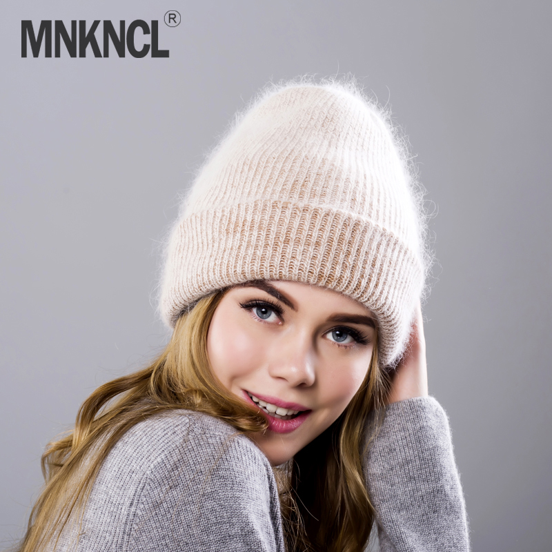 MNKNCL 2018 New Rabbit Fur Knitted Hat Cap Women Winter Warm Wool   Beanie   Hat Outdoor Sport   Skullies     Beanies   Gorro