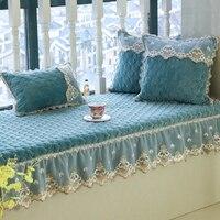 Luxurious comfortable crystal velvet fabric bay window cushion set Lace wave window pad lumbar pillow tatami balcony mat