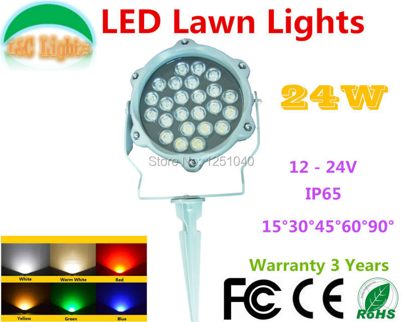 DC 24V 24W Single color LED Lawn Lights Red Green Blue Yellow White LED Flood Lights IP65 Outdoor LED Garden Spotlights CE RoHSDC 24V 24W Single color LED Lawn Lights Red Green Blue Yellow White LED Flood Lights IP65 Outdoor LED Garden Spotlights CE RoHS