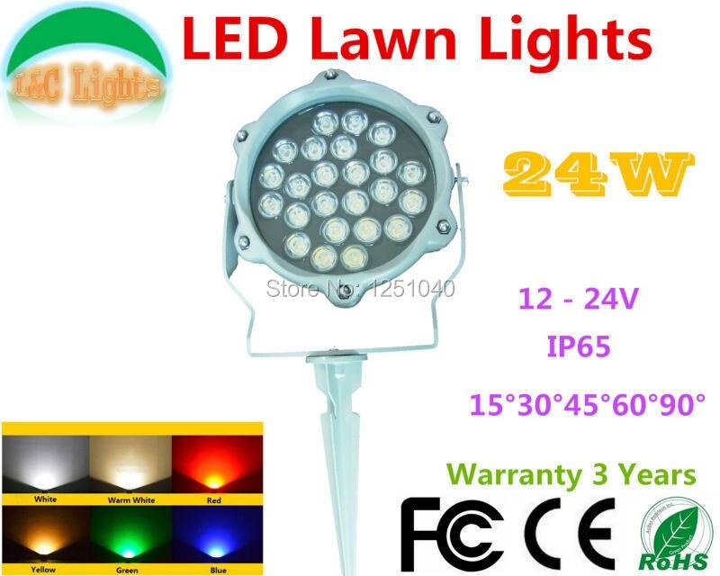 La pelouse de LED couleur simple de cc 24 V 24 W allume les lumières d'inondation de LED blanc rouge vert bleu jaune IP65 projecteurs extérieurs de jardin de LED CE RoHS