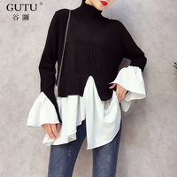GUTU 2018 New Pattern O Neck Flare Sleeve Irregular Knitting Pullover Solid Color Fake Two