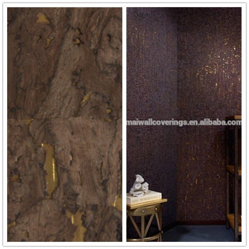 21017 Neue Dunkelbraun Holz Tapete Mit Goldfolie Hintergrund Schalldichten  Material Für Wohnzimmer Dekoration(China)