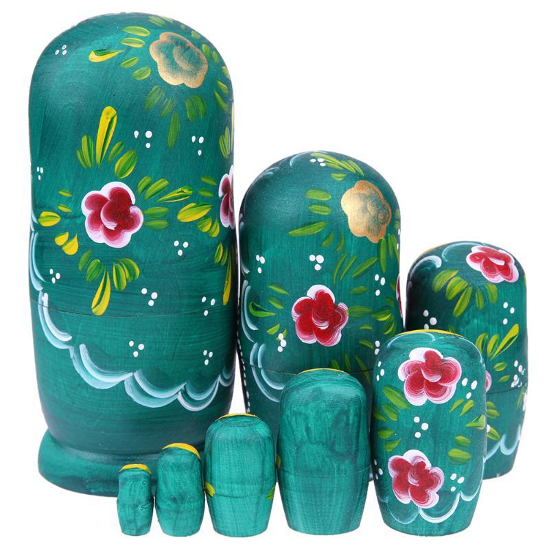 8Pcs/Set Wooden Handmade Russian Nesting Dolls Green Girls Flower Pattern Fun Stacking Russian Matryoshka Dolls Gift