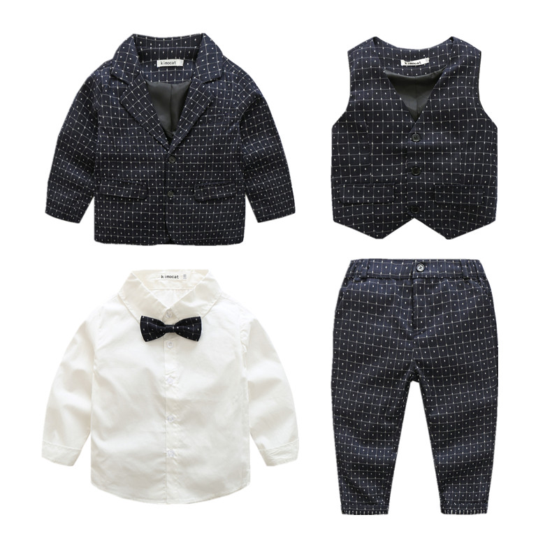 ФОТО 2017 Boys Clothing Set Winter Gentleman Kids Clothes Bow Clothing Sets Baby Coat,Vest,Shirt,pant 4-Piece Suit Set